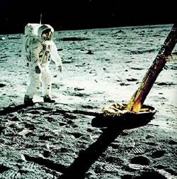 Apollo 11 Lunar Excursion Module footpad and Apollo 11 astronaut Buzz Aldrin