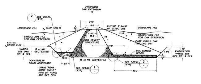 Figure 7: McMicken Dam - Typical Cross Section (from AMEC, 2004)