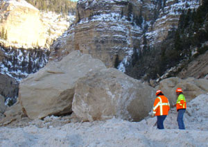 Landslide blocks SR 14 east of Cedar City, Utah