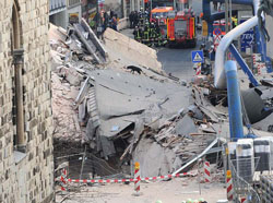 Destruction from the collapse of a subway tunnel in Cologne, Germany which swallowed Cologne's Historical Archive
