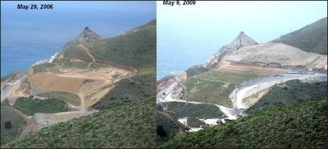 Before and after photos of Devil's Slide debris dump - From Coastsider.com