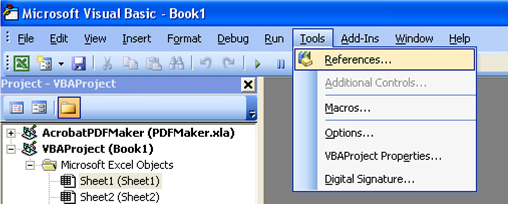 References menu in Visual Basic Editor