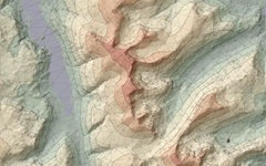 Combined TIN and color shading of a DEM with a shaded relief map generated by LandSerf software