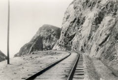Ocean Shore Railroad Tracks at the Devil's Slide in the early 1900s.