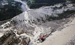 A mudslide in Kaohsiung county, Taiwan, after typhoon Morakot. Photograph: AP