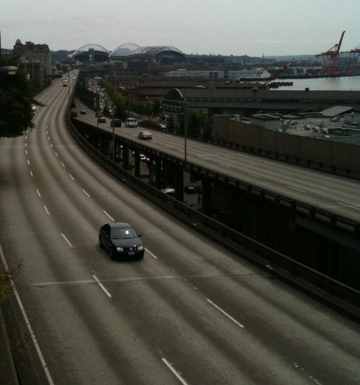 Alaskan Way Viaduct in Seattle - Photo by Seattle PI