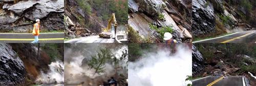 Frame grabs from a video of a rockslide on US Highway 64 in the Ocoee River gorge in Tennessee on November 10, 2009