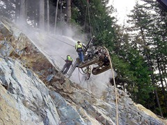 Drilling rock bolts on the Sea-to-Sky Highway