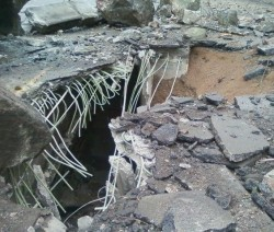 Hole in I-70 Bridge after March 2010 rockfall