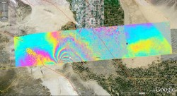 Overview of the UAVSAR interferogram of the magnitude 7.2 Baja California earthquake of April 4, 2010, overlaid atop a Google Earth image of the region. Major fault systems are shown by red lines, while recent aftershocks are denoted by yellow, orange and