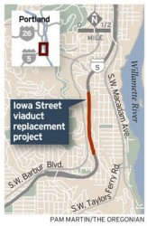 Location of Portland Oregon's I-5: Iowa Street Viaduct Replacement Project