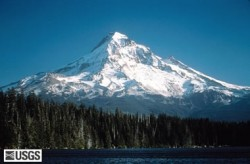 Mount Hood, Oregon, as seen from Lost Lake. United States Geological Survey photo taken in 1985 by Lyn Topinka.