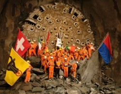 A Herrenknecht TBM breaks through on the eastern tube of the Gotthard Base Tunnel on Oct. 15.