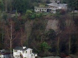Aerial view shot by KOMO News' Air 4 shows landslides along Seattle's Burke-Gilman Trail on Monday morning.