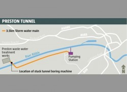 Preston tunnel project, Lancashire, UK, where TBM is stuck