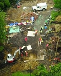 Rescue and recovery effort for Alexander Wright, a geologist killed when a test pit collapsed in 2008.