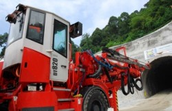 Two Sandvik DT820-SC tunneling jumbos have been used to mine two 2.2-km tunnels in Malaysia.