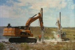 Drilling for presplit blasting for wind turbine foundations in Oklahoma