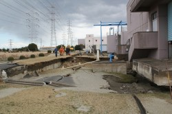 Liquefaction damage to a building in Japan