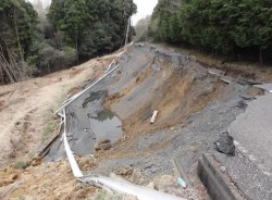 Failed roadway embankment during the Tohoku Japan Earthquake 2011