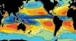Global evaporation and precipitation differences, the main elements in the global water cycle.