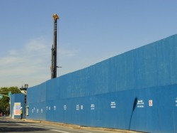 Drill rig at Atlantic Yards project showers pedestrians with debris