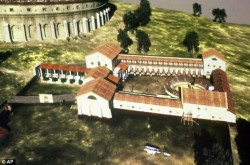 Rendering of a Roman gladiator school discovered near Vienna, Austria.
