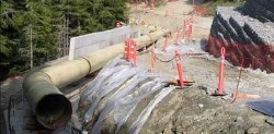 Penstock under construction at downstream end of project