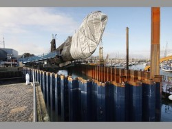 Sheet pile cofferdam around HMS Alliance
