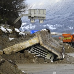 Landslide or snow melt causes retaining wall failure that kills one motorist on Austrian Autobahn