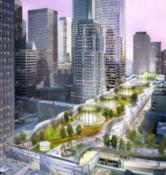 A rendering of the Transbay Transit Center with a 5.4 acre park on its roof.