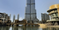 Burj Khalifa tower in Dubai. AECOM performed a peer review on the building's foundation design.