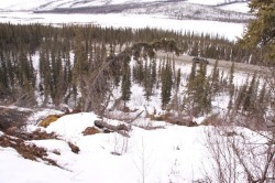 Frozen debris flow only 75 yards from Alaska Highway and Trans-Alaska Pipeline
