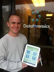 Scott Deaton of Dataforensics shows off an early version of pLog v7 software on a Panasonic Toughpad
