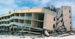 Shallow foundation damage causes building collapse in Alabama after Hurricane Ivan in 2004