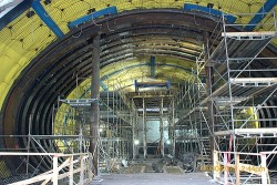 Scaffolding within the tunnel of one of the east side access project