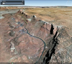 This Google Earth image looking northeast from highway US89, shows the ancient landslide (a Toreva block) just above and to the left of the center of the image.