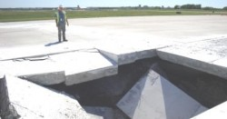 Excavation of void under a taxiway in Kansas City. The void was detected using geophysics.