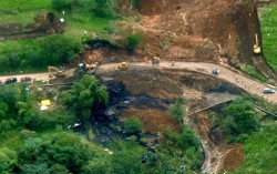 A landslide severed an oil pipeline in Ecuador on May 31, 2013.