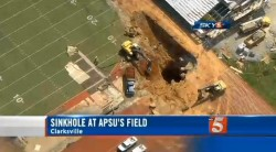 A 40 foot by 40 foot sinkhole at Austin Peay State University Governor's Stadium in Tennessee