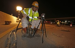 Nortex employees stabilizing Houston area freeway with TerraThane Polyurethane Foam
