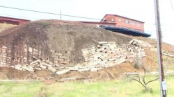 Failing Retaining Wall in Colorado Springs near Lower Gold Camp and Bear Creek Road in May of 2015