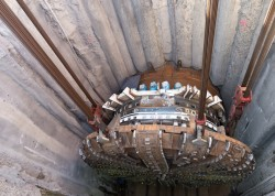 Bertha TBM cutterhead being lowered back into access shaft