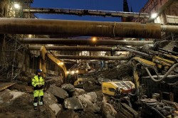 Braced excavation for Stockholm's City Line project