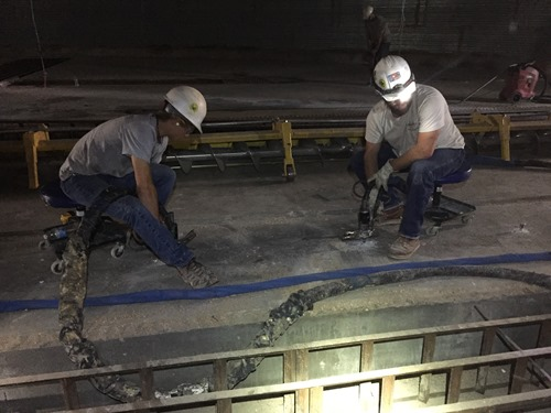 CJGeo injecting TerraThane(TM) polyurethane foam to stabilize foundation and lift concrete slabs