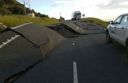 New Zealand road damaged by fault rupture