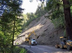 Landslide on Highway 101 near Leggett, California
