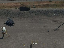 A 20 foot hole in the soil above a tunnel at the Hanford Nuclear Site