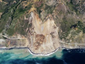 Mud creek landslide on California Highway 1 in May of 2017