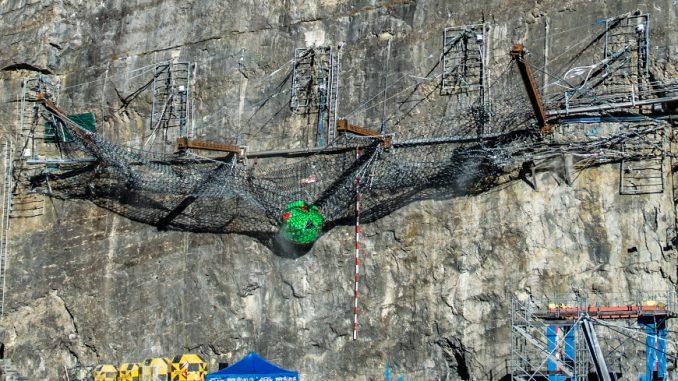 World Record Rockfall Barrier Test by Geobruug at 10,000 KJ